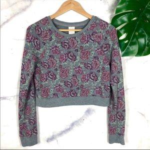 Abercrombie & Fitch Floral Crop Crewneck Sweater S
